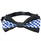 Checked Pattern Adjustable 2-Layer Bowknot Pre Tied Necktie - Black + Blue + White