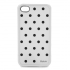 Polka Dot Pattern Protective Plastic Back Case w/ Screen Protector for iPhone 4 /4S - Black + White