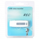 G3 USB Rechargeable Voice Recorder - White + Silver (4GB)