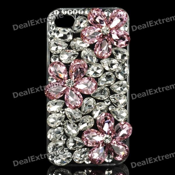 Protective Crystal Flowers Pattern Plastic Back Case for Iphone 4 / 4S - Silver + Pink kinston kst92536 grid pattern protective aluminium back case for iphone 6 4 7 silver
