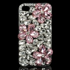 Protective Crystal Flowers Pattern Plastic Back Case for Iphone 4 / 4S - Silver + Pink