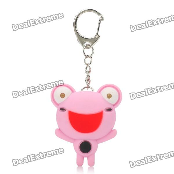 Cute Frog Style Two White LED Flashing light Keychain w/ Sound Effect - Pink (3 x LR1130)