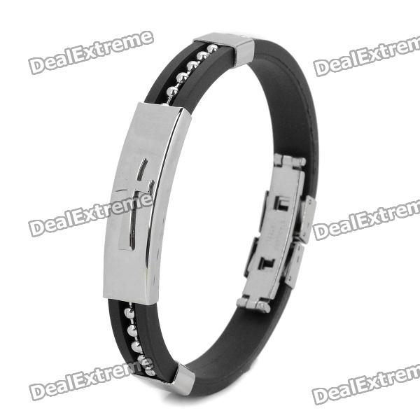 Stainless Steel Anion Pressure Reduction Magnetic Bracelet Bangle - Black + Silver stylish survival glowing in the dark paracord bracelet with stainless steel buckle white