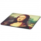 Mona Lisa Pattern Rubber Mouse Pad Mat - Black + Green + Yellow (19 x 25 x 0.5cm)