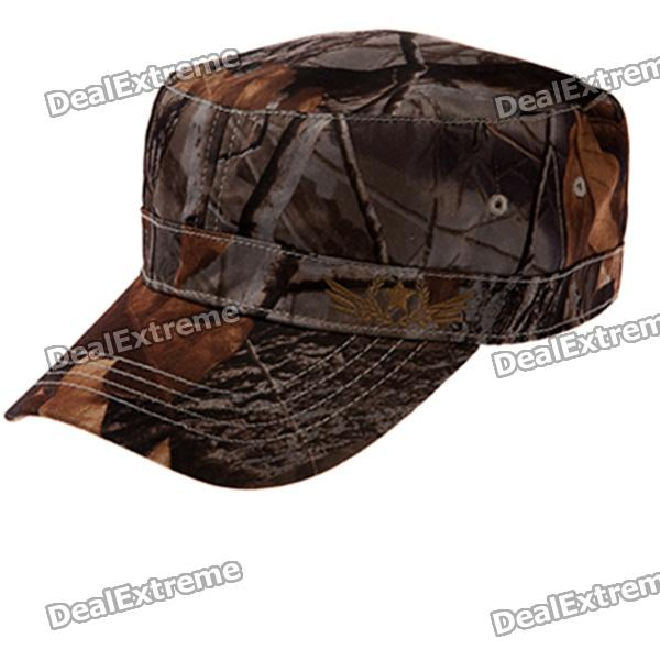 Fashion Flat Top Hat Cap for Men - Deep Brown military hat flat cap m177