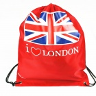 Oxford Fabric Drawstring Closure Bag - Red + Blue + White