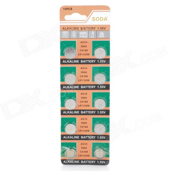 AG10 / LR1130 1.55V Alkaline Cell Button Batteries (10-Piece Pack) accell ag10 lr1130 189 1 5v alkaline cell button battery 10 pcs
