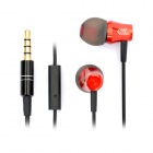 Stylish In-Ear Earphone w/ Microphone for iPhone / HTC - Black + Red (3.5mm Plug)