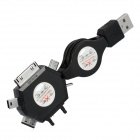 Multifunctional Retractable USB Charging Cable for Cell Phones + More - Black (60cm)