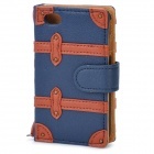 SDMDI Protective PU-Leder Flip Case für iPhone 4 / 4S - Dunkelblau + Orange