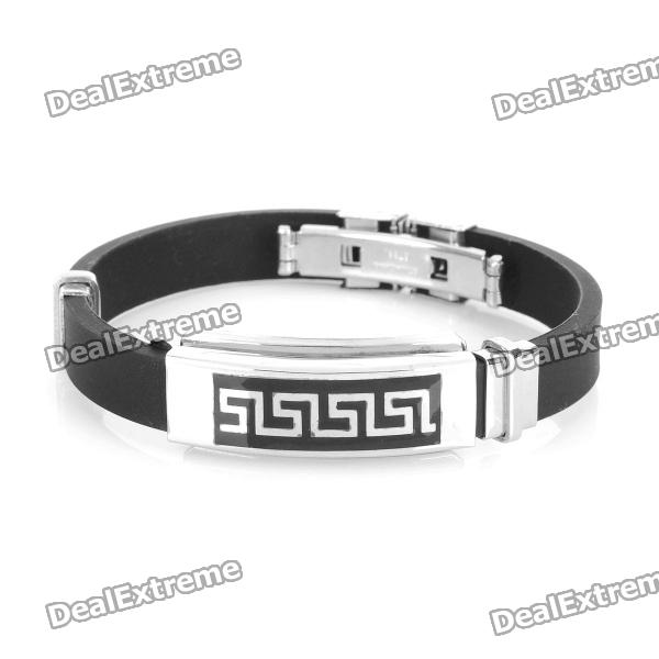 Decompression Anion Silica Gel Non-Allergy Bracelet - Silver + Black decompression anion pu leather non allergy bracelet silver black coppery