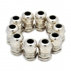 M12 Metal Water Resistant Cable Glands - Silver (12mm / 10-Pack)