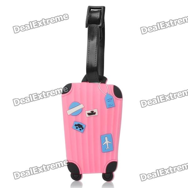 Cute Luggage Pattern Secure Travel Suitcase ID Luggage Tag - Pink