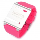 Aluminum Alloy Back Cover + Silicone Wrist Watch Band Strap for iPod Nano 6 - Pink