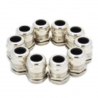 PG16 Metal Water Resistant Cable Glands - Silver (22.5mm / 10-Pack)