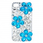 Protective Crystal Flowers Plastic Back Case for iPhone 4 / 4S - Blue + White