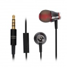Stylish In-Ear Earphone w/ Microphone for iPhone / HTC - Black (3.5mm Plug)