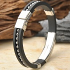 Stainless Steel Anion Pressure Reduction Magnetic Bracelet Bangle - Black + Silver