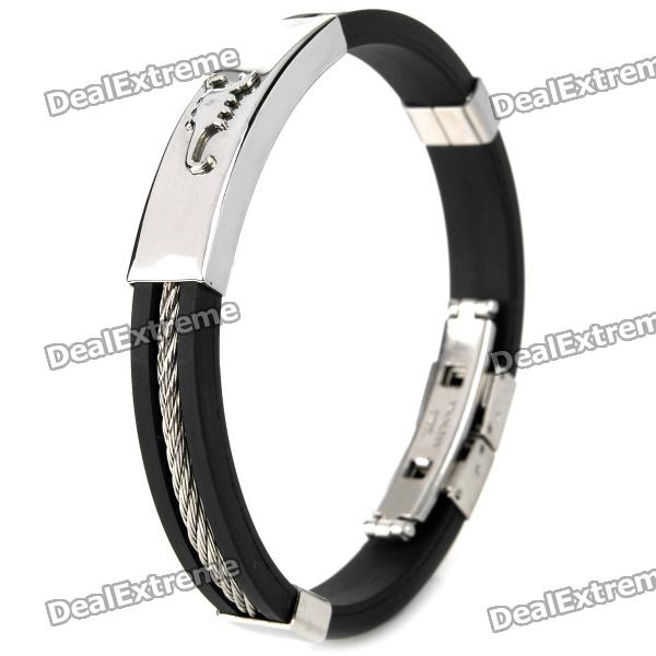 Decompression Anion Silica Gel Non-Allergy Men's Bracelet - Silver + Black decompression anion pu leather non allergy bracelet silver black coppery