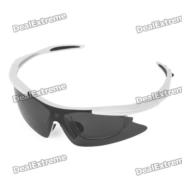 Stylish Outdoor Riding PVC Lens Eye Protection Glasses Goggle - White