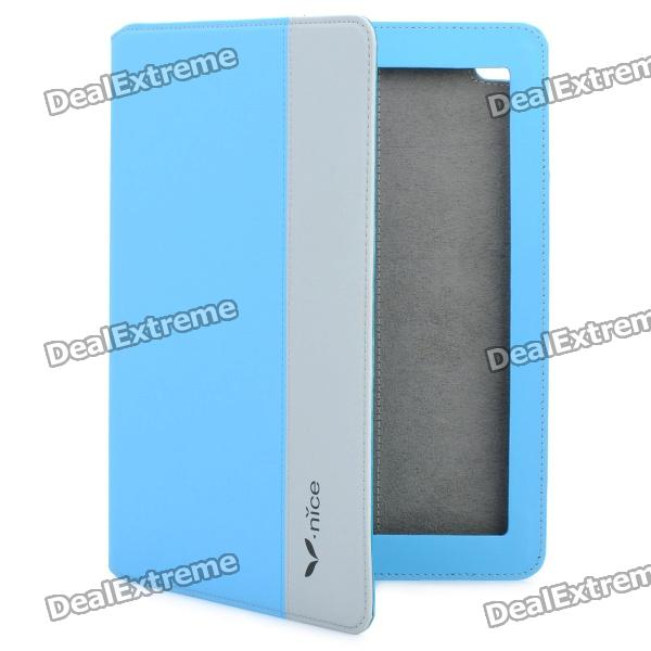 Nice A-016 Protective PU leather Case for Ipad2 / The New Ipad - Blue + Grey new pu leather high back desk office chair executive ergonomic computer task hw50277