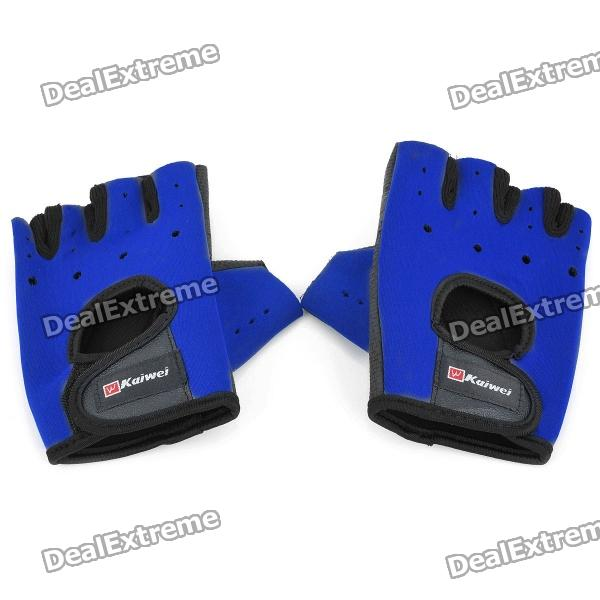 Outdoor Sports Palm Protection Support Gloves - Black + Blue (Pair)