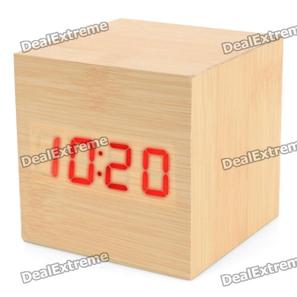 Modern USB/4 x AAA Batteries Powered Wooden Red LED Alarm Clock w/ Temperature Displaydesk clock<br>Form  ColorWoodPower SupplyAA,AAAPacking List<br>
