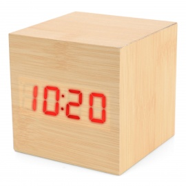 Modern USB/4 x AAA Batteries Powered Wooden Red LED Alarm Clock w/ Temperature Display