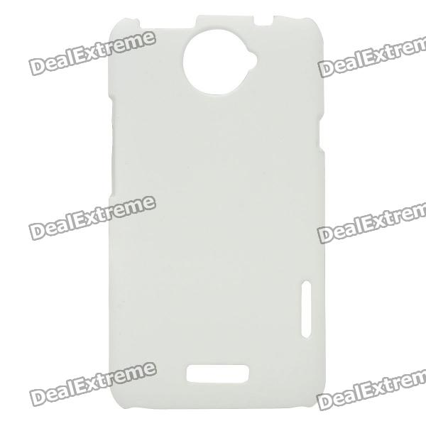 Matte Protective PE Back Case for HTC One X / S720e - White matte protective pe back case for htc one x s720e deep pink