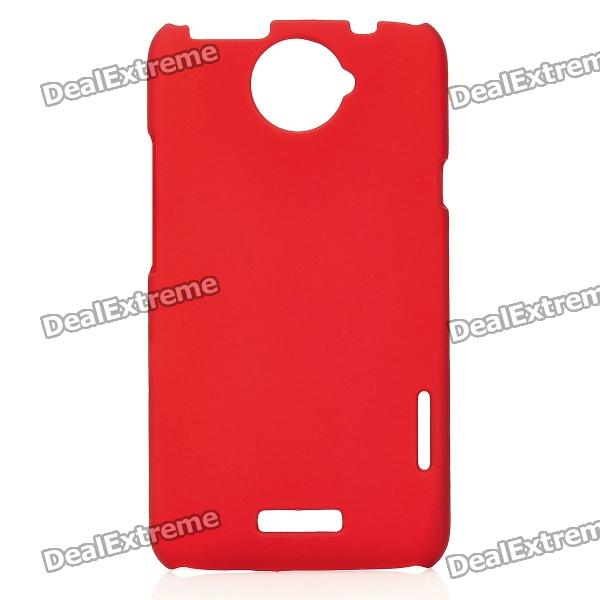 Matte Protective PE Back Case for HTC One X / S720e - Red matte protective pe back case for htc one x s720e deep pink