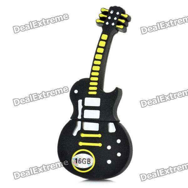 Novelty Silicone Guitar Style USB 2.0 Flash Drive - Black (16GB) usb flash drive 16gb smartbuy x cut sky sb16gbxc sb
