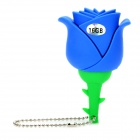 Novelty Silicone Rose Style USB 2.0 Flash Drive - Blue (16GB)
