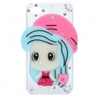 Cute Girl Style Protective Plastic Back Case for iPhone 4 / 4S - Blue + Pink
