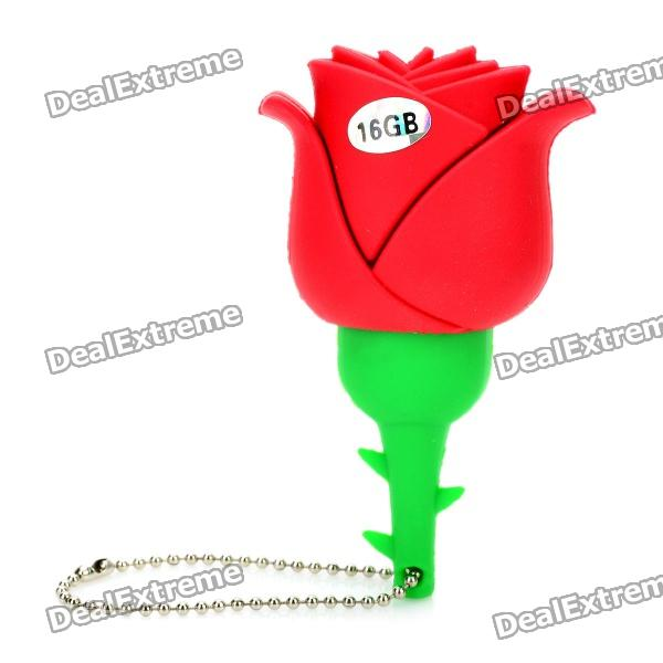 Novelty Silicone Rose Style USB 2.0 Flash Drive - Red (16GB)