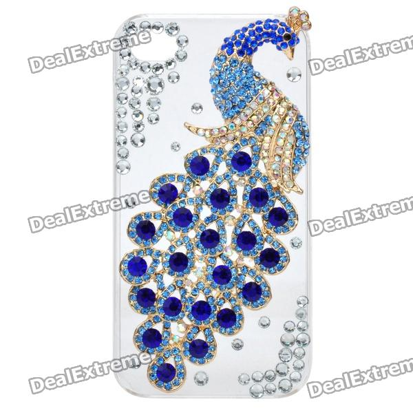 Elegant Rhinestone Peacock Pattern Protective Plastic Back Case for Iphone 4 / 4S - White + Blue cartoon pattern matte protective abs back case for iphone 4 4s deep pink