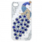 Elegant Rhinestone Peacock Pattern Protective Plastic Back Case for Iphone 4 / 4S - White + Blue