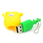 Novelty Silicone Rose Style USB 2.0 Flash Drive - Yellow (16GB)