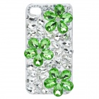Crystal Flowers Protective Plastic Back Case for iPhone 4 / 4S - Green + White