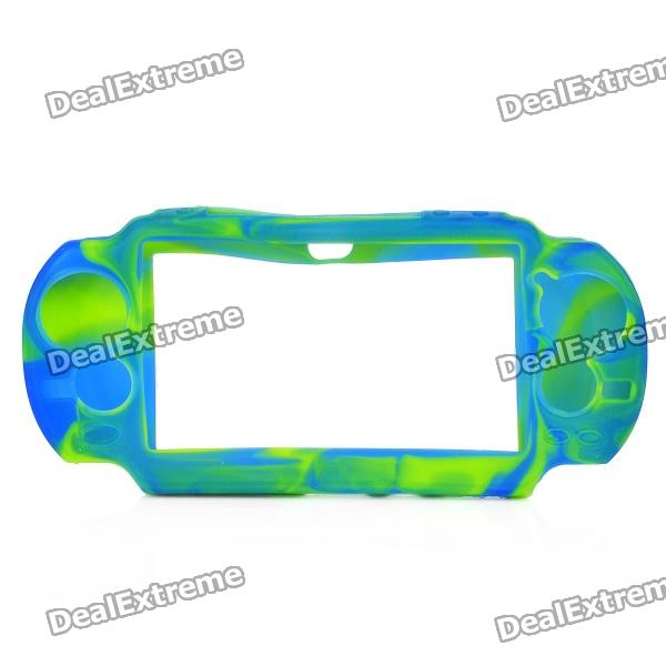 Protective Silicone Case for Sony PS Vita - Camouflage Blue + Green camouflage pattern silicone protective case for xbox 360 controller blue green