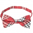 Decoration Cotton Lattice Bow Tie - Red