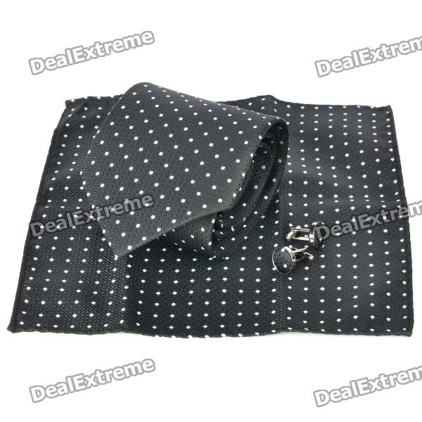 Fashion Black Lattice White Dot Pattern Men's Tie + Handkerchief + Cuff Links