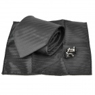 Fashion Arrow Pattern Men's Tie + Handkerchief + Cuff Links - Black