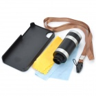 8X Zoom Optical Lens Camera Telescope w/ Matte Back Case for Iphone 4 / 4S - Black