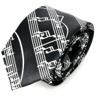 Trendy Musical Notes Pattern Tie - Black + White
