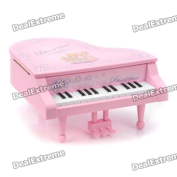 Charming Simulation Piano Style Jewelry Storage Box with Wind-up Music Effect
