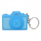Mini Camera Shape Keychain with Digital Time Display and Shutter's Sound & Flash - Blue (1 x LR41)