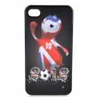 London 2012 Summer Olympics Mascot Wenlock Pattern PC Back Case for iPhone 4 / 4S - Black