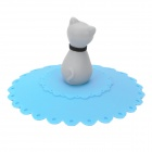 Elegant Cat Style Silicone Cup Cover Lid - Blue