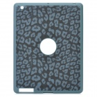Artificial Leopard Leather Cover Protective Silicone Back Case for Ipad 2 / The New Ipad - Deep Grey