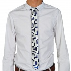 Fashion Crossword Pattern White/Blue Grid Men's Decoration Neck Tie - White + Blue
